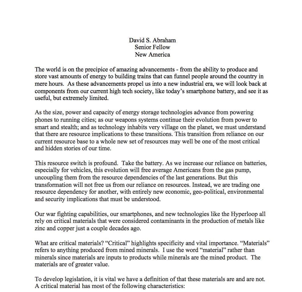 Testimony of David S  Abraham, Senior Fellow - Minerals Make